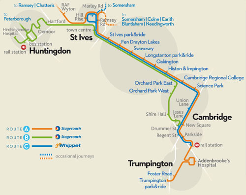 Cambridge Busway Map - Photo: ©2013 Ian Boyle - www.simplonpc.co.uk