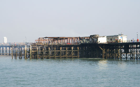 Southend Pier after the fire of 9th/10th October 2005 - Photo: � Ian Boyle, 10th October 2005 - www.simplonpc.co.uk
