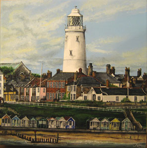 Southwold Lighthouse - Painting by Matthew Emeny - Email: suffolkoncanvas@live.co.uk - Tel: 07854 628 473