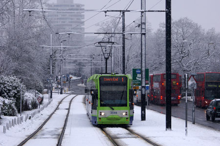 Croydon Tramlink in the Snow - Photo: © Ian Boyle, 6th January 2010