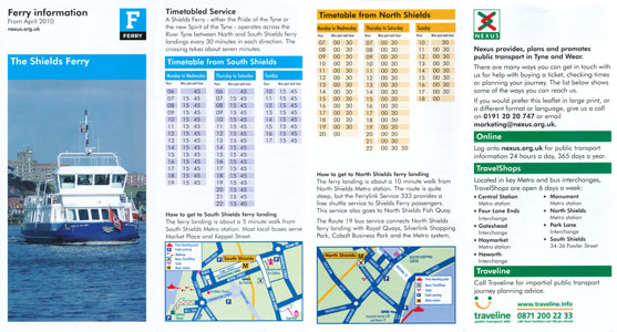 2010 Timetable - River Tyne - Shields Ferry - www.simplonpc.co.uk